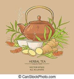 ginger tea vector illustration on color background