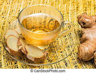 Ginger Tea Represents Organics Teacup And Refreshed