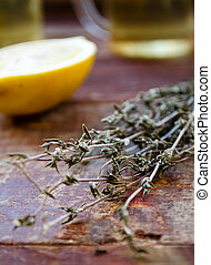 ginger tea with lemon and dry thyme