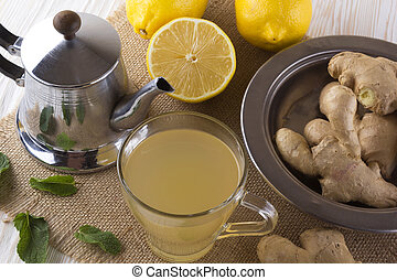 Ginger tea with lemon.