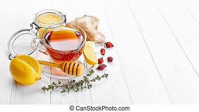 Ginger tea with lemon honey Rose Hip