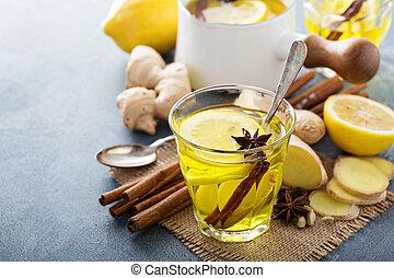 Ginger tea with lemon - Hot ginger tea drink with lemon -...