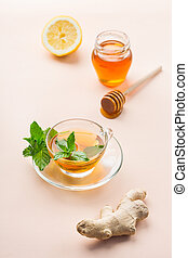 Ginger tea with lemon, mint and honey for flu cold