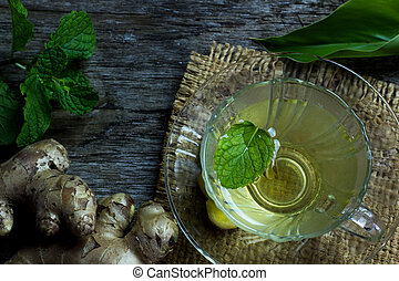 ginger tea with mint,copy space
