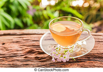 Ginger teacup with ginger slices