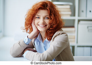 Ginger woman - Portrait of a woman with bright red hair