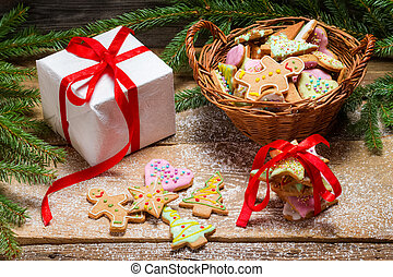gingerbread のクッキー, クリスマスの ギフト, すてきである