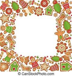 gingerbread のクッキー, ベクトル, フレーム