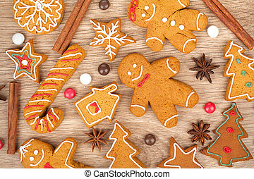 gingerbread のクッキー, 様々, クリスマス, 手製