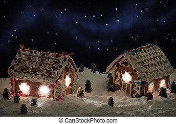 gingerbread, イブ, クリスマス, 村