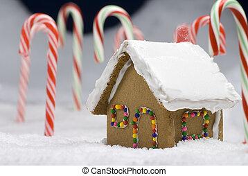 gingerbread, クローズアップ, クリスマス, 家