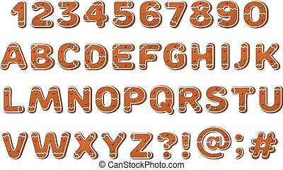Gingerbread Alphabet - A full alphabet including numbers and...
