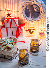 Gingerbread and tea with orange for Christmas