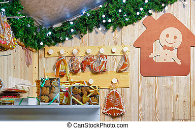 Gingerbread at Christmas Market in Vilnius in Lithuania