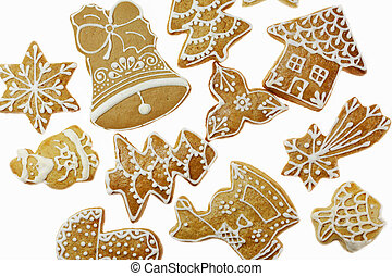 Gingerbread background - Delicious gingerbread on white ...