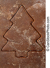 Gingerbread background - Christmas tree gingerbread...