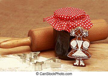 Gingerbread baking - Homemade baking of gingerbread cookies,...