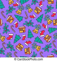 gingerbread, bell., いたずら書き, キャンデー, pattern., seamless, サンタ, ソックス, 2019, 家, 年, デザイン, 新しい, クリスマス