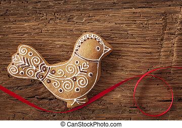 Gingerbread bird cookie