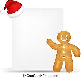 gingerbread, chapéu papel, santa