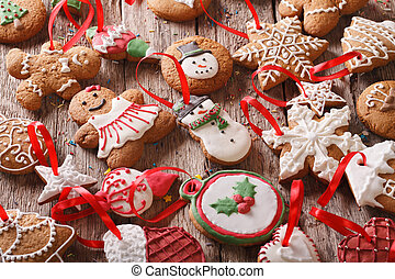 gingerbread christmas background on a table close-up. horizontal