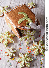 Gingerbread Christmas bag and snowflakes close-up. vertical
