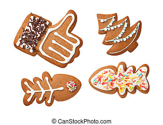 Gingerbread Christmas Cookies Isolated On White Background
