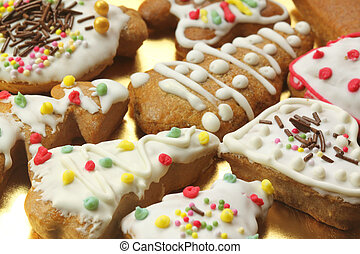 Gingerbread colorful decorated cookies - Christmas trees and hearts