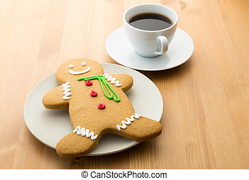 Gingerbread cookie and coffee