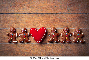 Gingerbread cookie and heart shape toy