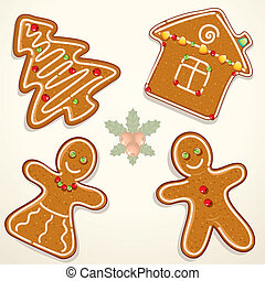 Christmas Gingerbread Cookies, vector illustrations isolated on white