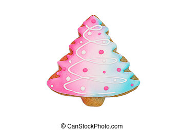 gingerbread cookie christmas tree isolated on white background