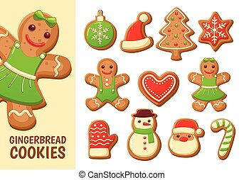 Gingerbread cookie collection. Set 2.
