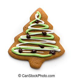 Gingerbread cookie - decorated tree gingerbread cookie ...