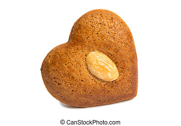 gingerbread cookie heart isolated