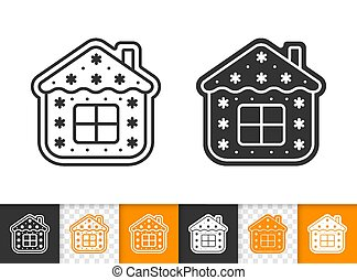 Gingerbread Cookie house black line vector icon
