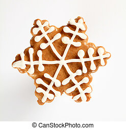 Gingerbread cookie in the shape of snowflake