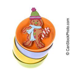 Gingerbread cookie man in bowl