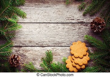 Gingerbread Cookie on an old wooden Christmas background
