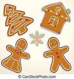 Gingerbread cookie - Christmas Gingerbread Cookies, vector...