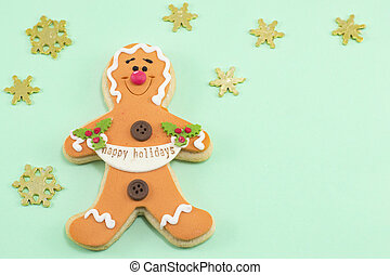 Gingerbread family background for happy holidays ...