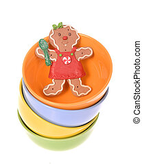Gingerbread cookie woman in bowl