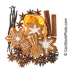gingerbread cookies and spices. christmas food ingredients