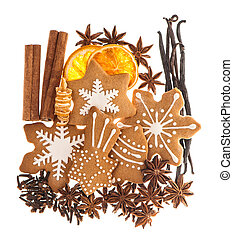 Gingerbread cookies and spices. Christmas sweet food