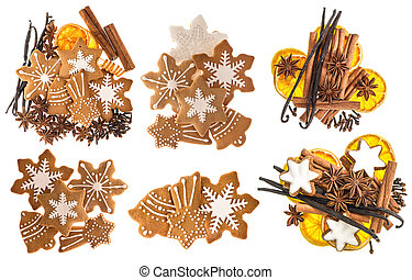 Gingerbread cookies and spices. Christmas sweet food ingredients