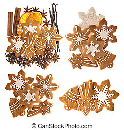 Gingerbread cookies and spices. Sweet Christmas food