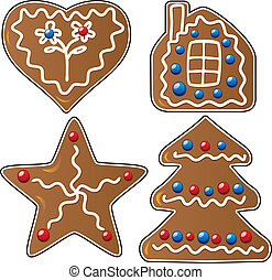 gingerbread cookies - vector set of four gingerbread cookies