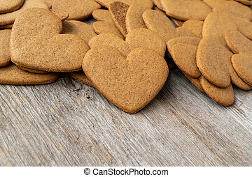 Gingerbread cookies in a heart shape