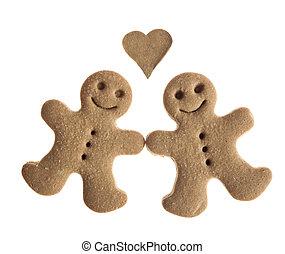 Gingerbread cookies in love - Homemade Gingerbread man...
