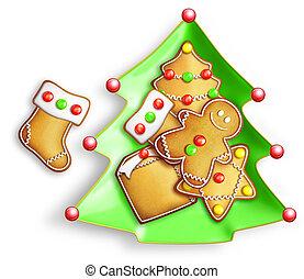 Gingerbread Cookies in Tree Plate